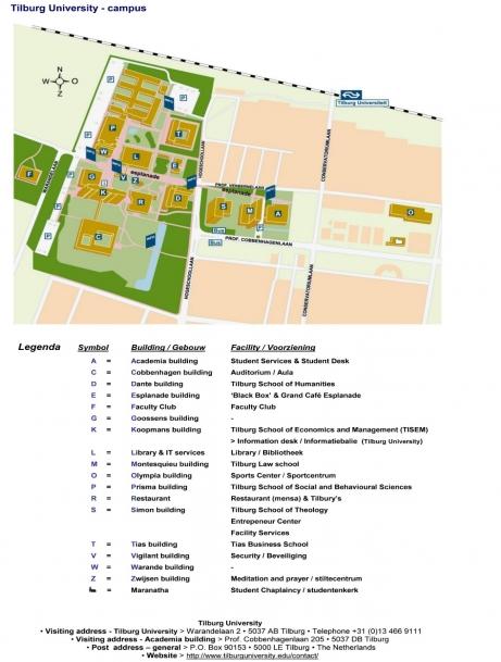 Tilburg Campus map